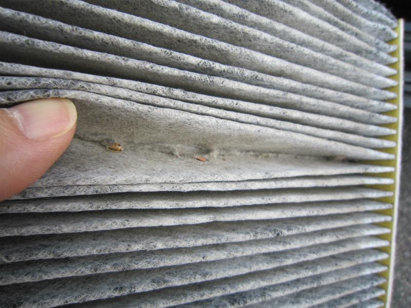 カビ臭い車内の空気を清浄化 【エアコンフィルター交換】フィルターのゴミ