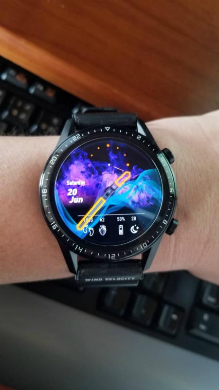 今日のウォッチフェイス(6/27):星雲っぽいアナログフェイス 【HUAWEI WATCH GT2】 MK_WF_001_2.1.1