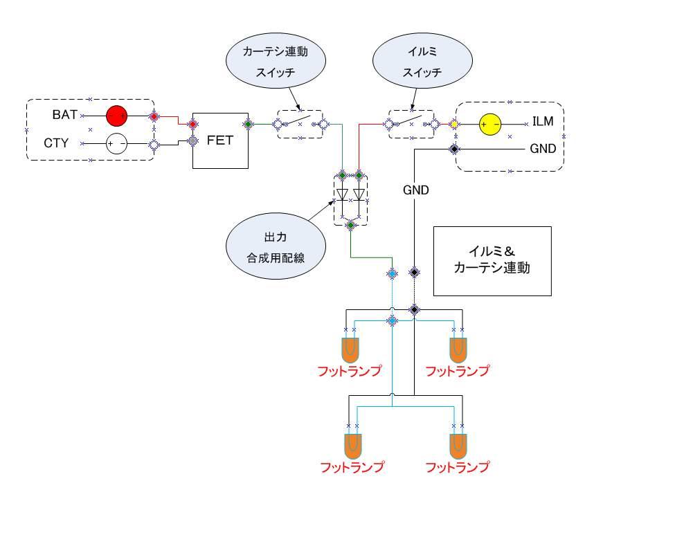 電装関係基礎知識 【カーテシ&イルミ合成】 回路図