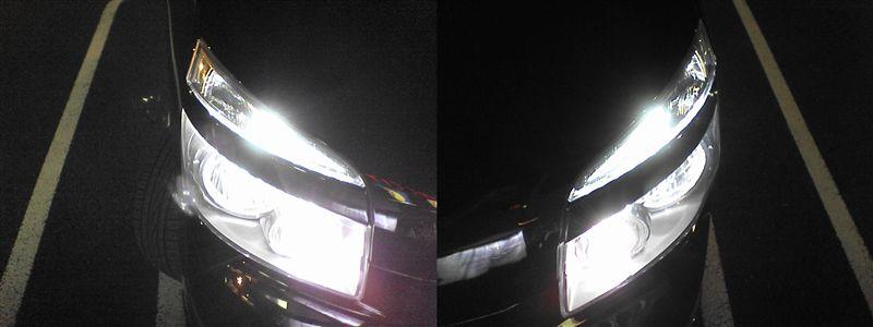 ライト周りをライトアップ。再び 【ガーニッシュ裏LED交換(3chipクリアドーム)】 ロービーム点灯