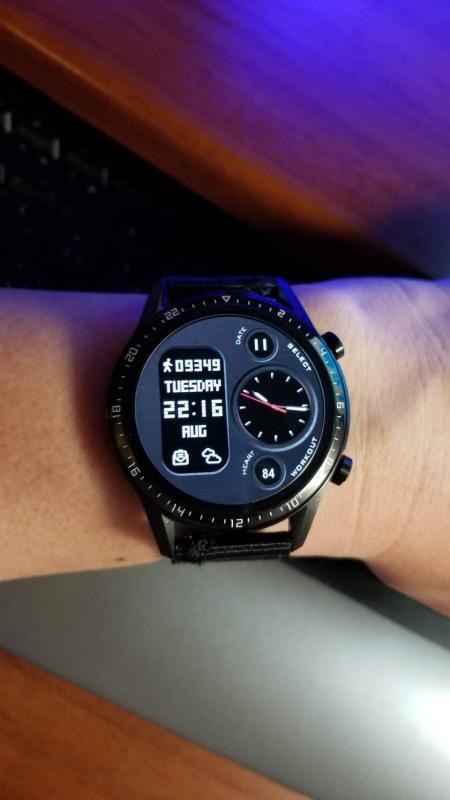 今日のカスタムフェイス(8/11):モノトーンなドット表示デジアナ【HUAWEI WATCH GT2】Dual-laird_2.1