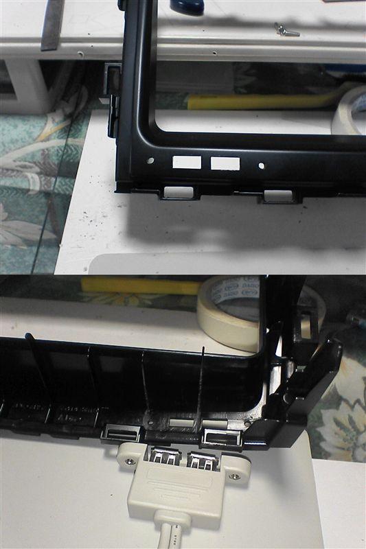 USB充電端子をすっきりつけたい。 【ナビ枠にUSB充電端子取付け】 ナビ枠穴あけ